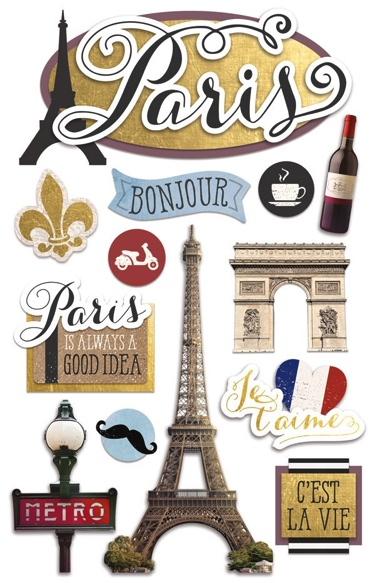 Discover Paris 3D Scrapbooking Stickers with Glitter