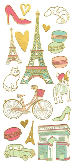 Paris Faux Enamel Scrapbooking Stickers