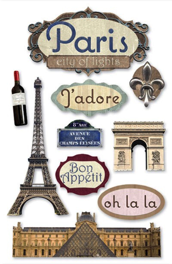 Paris 3D Scrapbooking Stickers with Glitter