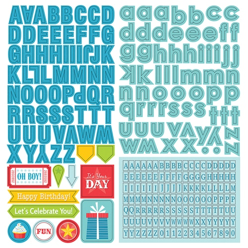 Party Boy Alphabet 12x12 Cardstock Scrapbooking Stickers