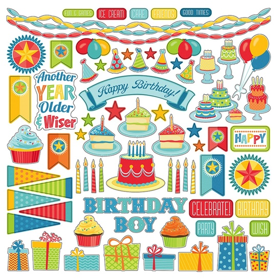 Party Boy 12x12 Cardstock Scrapbooking Stickers