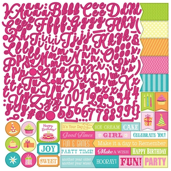 Party Girl Alphabet 12x12 Cardstock Scrapbooking Stickers
