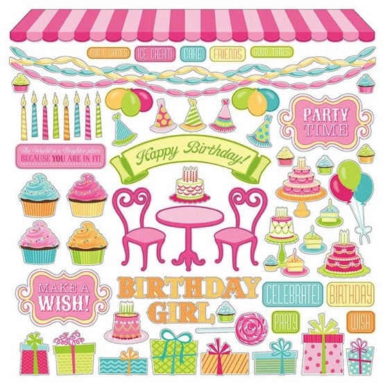 Party Girl 12x12 Cardstock Scrapbooking Stickers