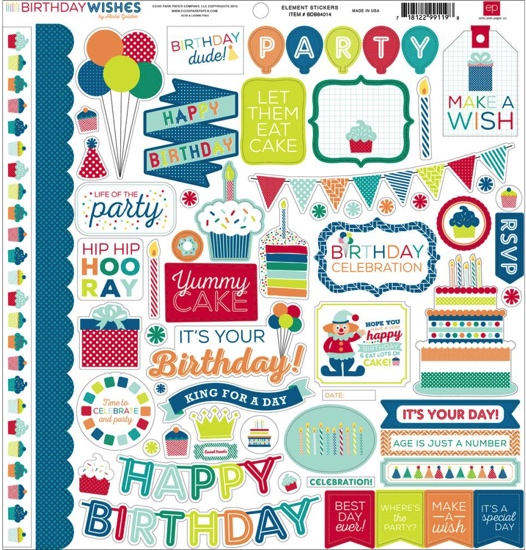 Party Time Boy 12x12 Cardstock Scrapbooking Stickers