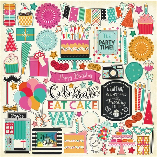 Party Time 12x12 Cardstock Scrapbooking Stickers