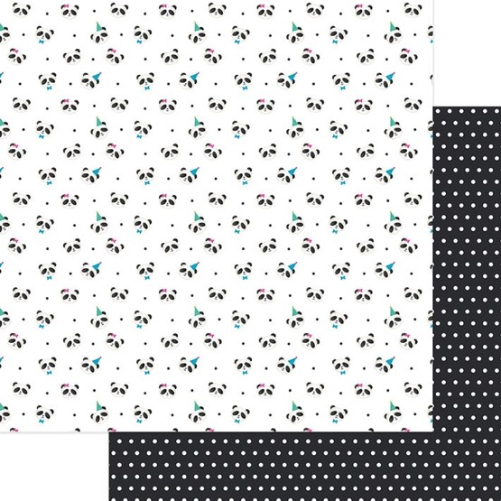 Party Time Panda 12x12 Double Sided Scrapbooking Paper