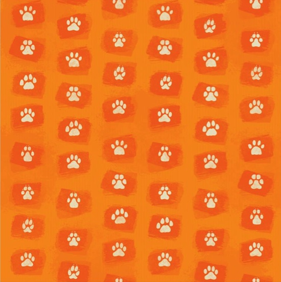 Paw Prints Orange 12x12 Scrapbooking Paper