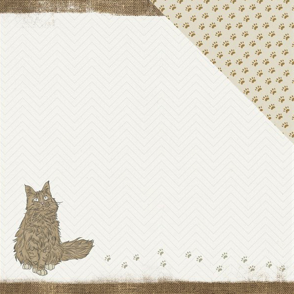 Kitty Pawfect Cat 12x12 Double Sided Scrapbooking Paper