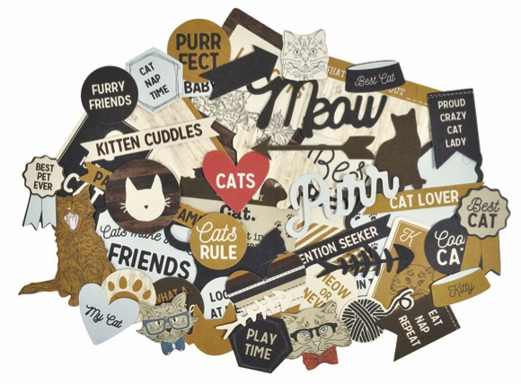 Pawfect Cat 50 Die Cut Scrapbooking Shapes