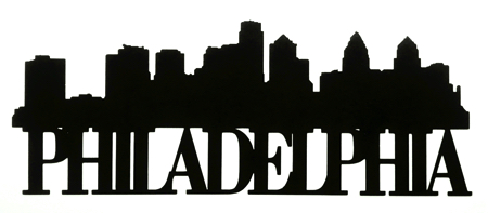 Philadelphia Scrapbooking Laser Cut Title with Skyline
