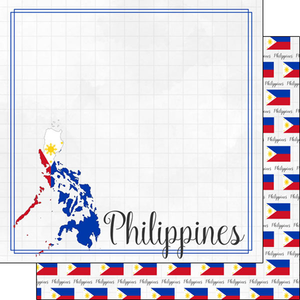 Philippines 12x12 Double Sided Scrapbooking Paper