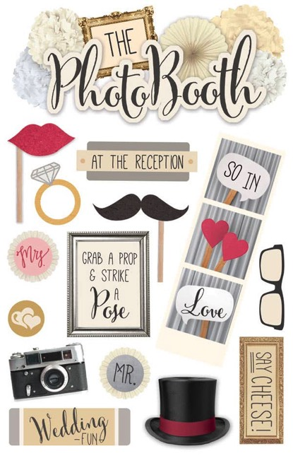 Photo Booth 3D Glitter Scrapbooking Stickers