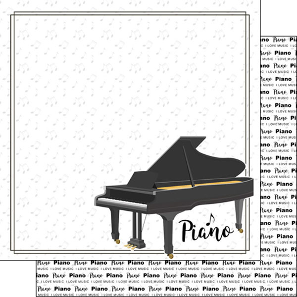 Piano 12x12 Double Sided Scrapbooking Paper