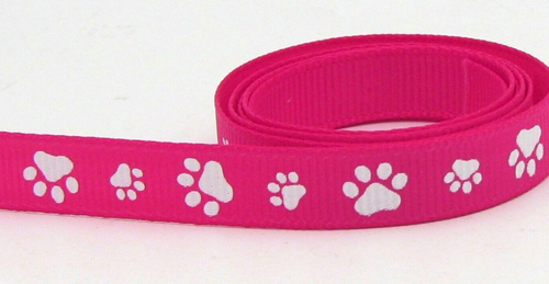 Paw Prints Scrapbooking Ribbon - Pink
