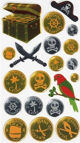 Pirate Treasure Shiny Scrapbooking Stickers