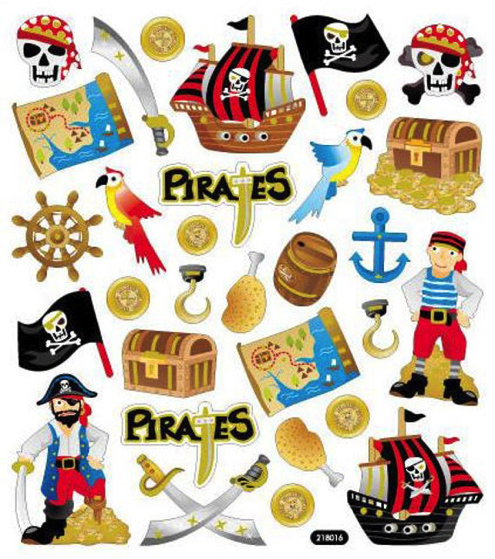 Pirate Glittery Scrapbooking Stickers
