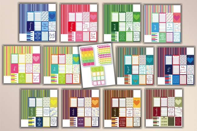 Plan It 12 Months 12x12 Scrapbooking Pack plus sticker set