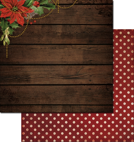 Poinsettia Garland 12x12 Double Sided Scrapbooking Paper