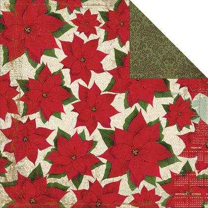 Poinsettias 12x12 Double Sided Scrapbooking Paper