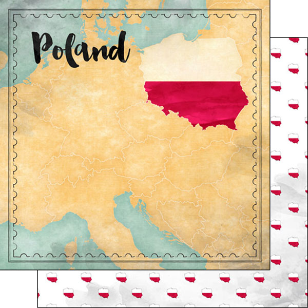 Poland Sights Map 12x12 Double Sided Scrapbooking Paper
