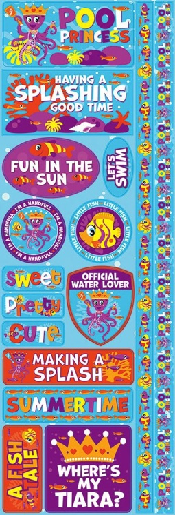 Pool Princess Cardstock Scrapbooking Stickers and Borders