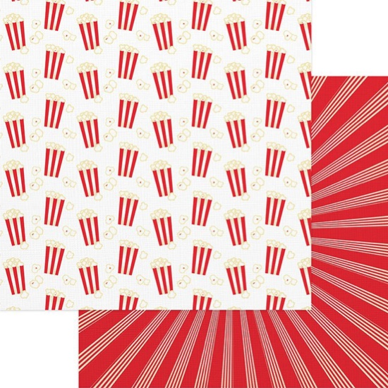 Popcorn Popping Double Sided 12x12 Scrapbooking Paper