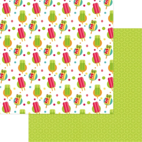 Popsicles 12x12 Double Sided Scrapbooking Paper
