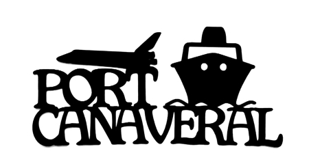 Port Canaveral Scrapbooking Laser Cut Title with Space Shuttle and Ship