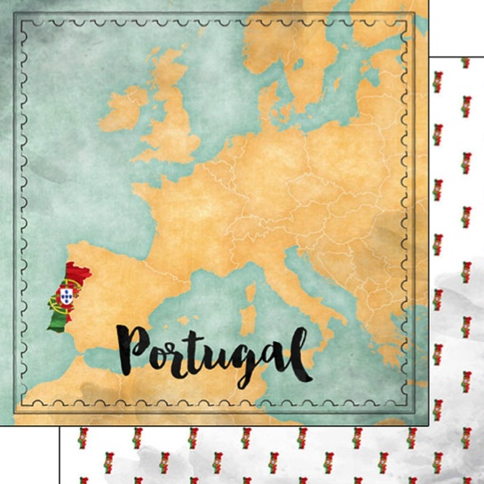 Portugal Sights Map 12x12 Double Sided Scrapbooking Paper