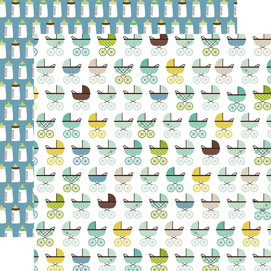 Prams and Bottles Double Sided 12x12 Scrapbooking Paper