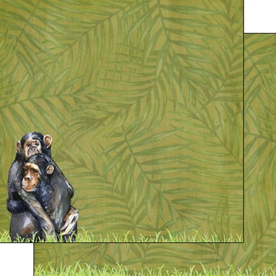 Primate Safari 12x12 Double Sided Scrapbooking Paper