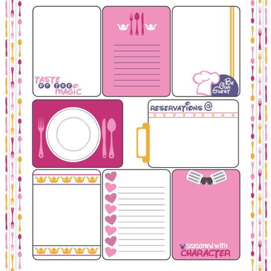 Princess Character Dining 12x12 Scrapbooking Journaling Paper