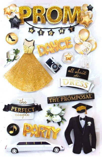 Prom 3D Scrapbooking Stickers with Glitter