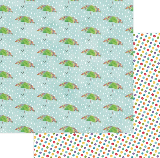 Puddles Double Sided 12x12 Scrapbooking Paper