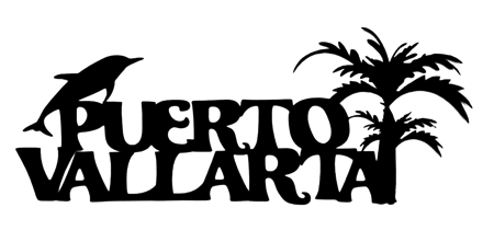Puerto Vallarta Scrapbooking Laser Cut Title with Palm and Dolphin