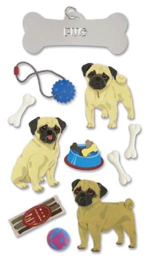 Pug Jolees 3D Scrapbooking Stickers