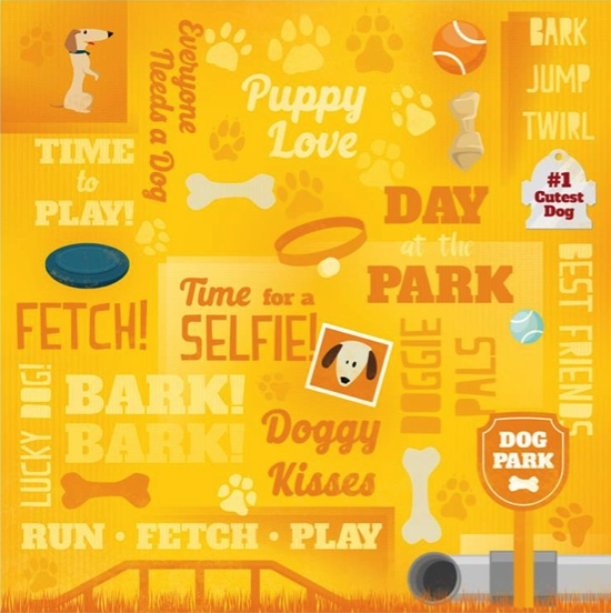 Puppy Love Collage 12x12 Scrapbooking Paper