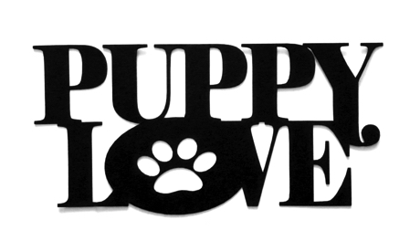 Puppy Love Scrapbooking Laser Cut Title with Paw