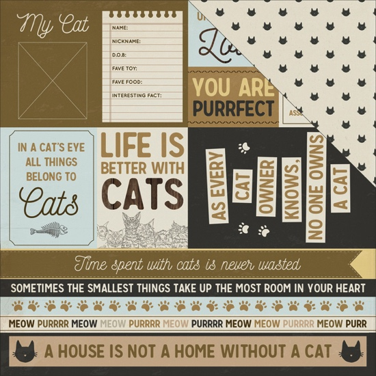 Purr Pawfect Cat 12x12 Double Sided Scrapbooking Paper