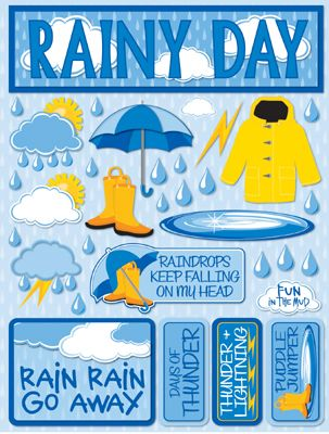 Rainy Day 3D Scrapbooking Stickers