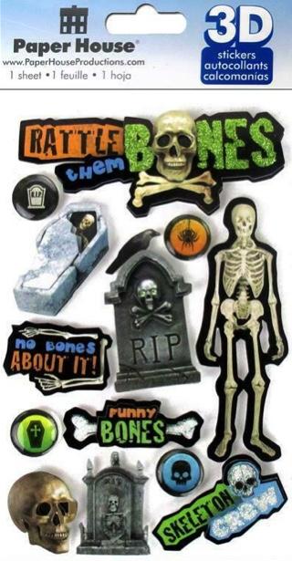 Rattle them Bones 3D Glitter Scrapbooking Stickers
