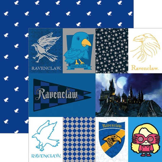 Ravenclaw Tags 12x12 Double Sided Scrapbooking Paper with Foil