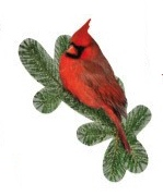 Red Cardinal on Fir Tree Die Cut Scrapbooking Sticker