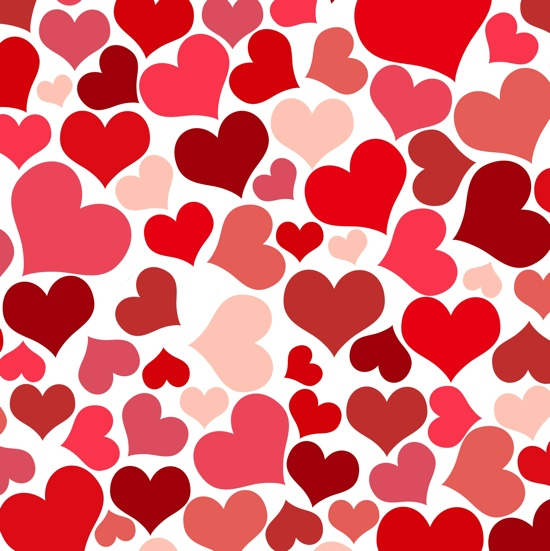 Red Hearts 12x12 Scrapbooking Paper