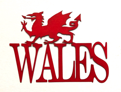 Wales Scrapbooking Laser Cut Title with Red Dragon