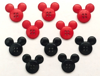 Mickey Mouse 10 Flat Backed Scrapbooking Buttons