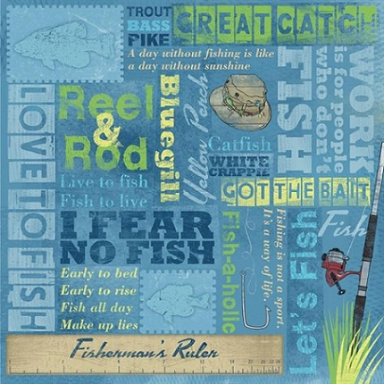 Fishing Collage 12x12 Scrapbooking Paper
