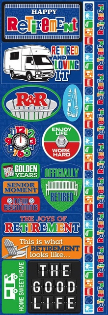 Retirement Cardstock Scrapbooking Stickers and Borders