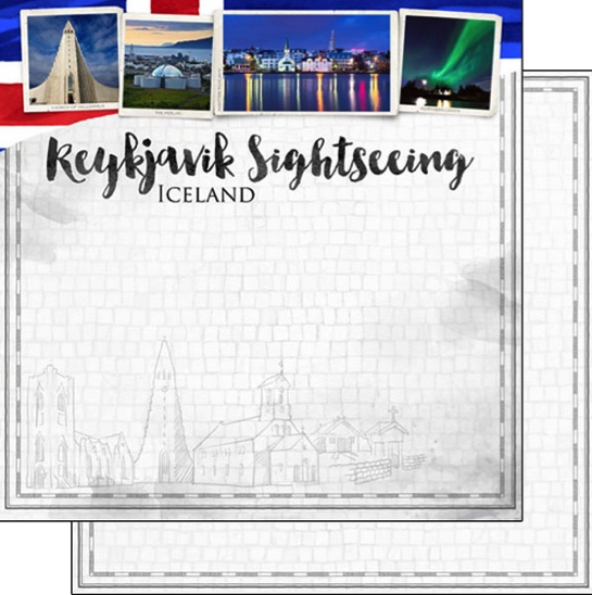 Reykjavik Sightseeing 12x12 Double Sided Scrapbooking Paper