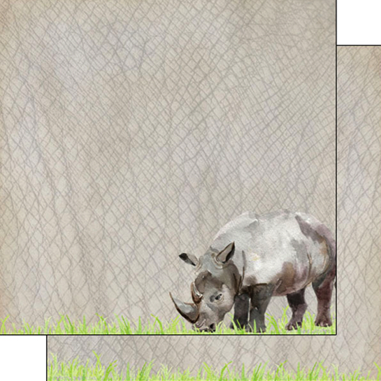 Rhino Safari 12x12 Double Sided Scrapbooking Paper